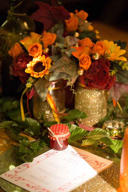 Autumnal wedding table centre