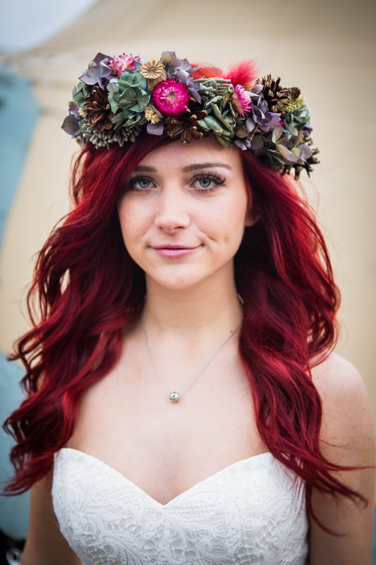 Red haired bride with fresh flower crown