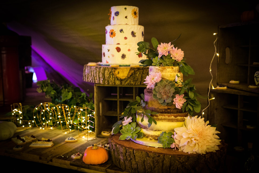 Rustic buttercream and rustic semi naked wedding cake