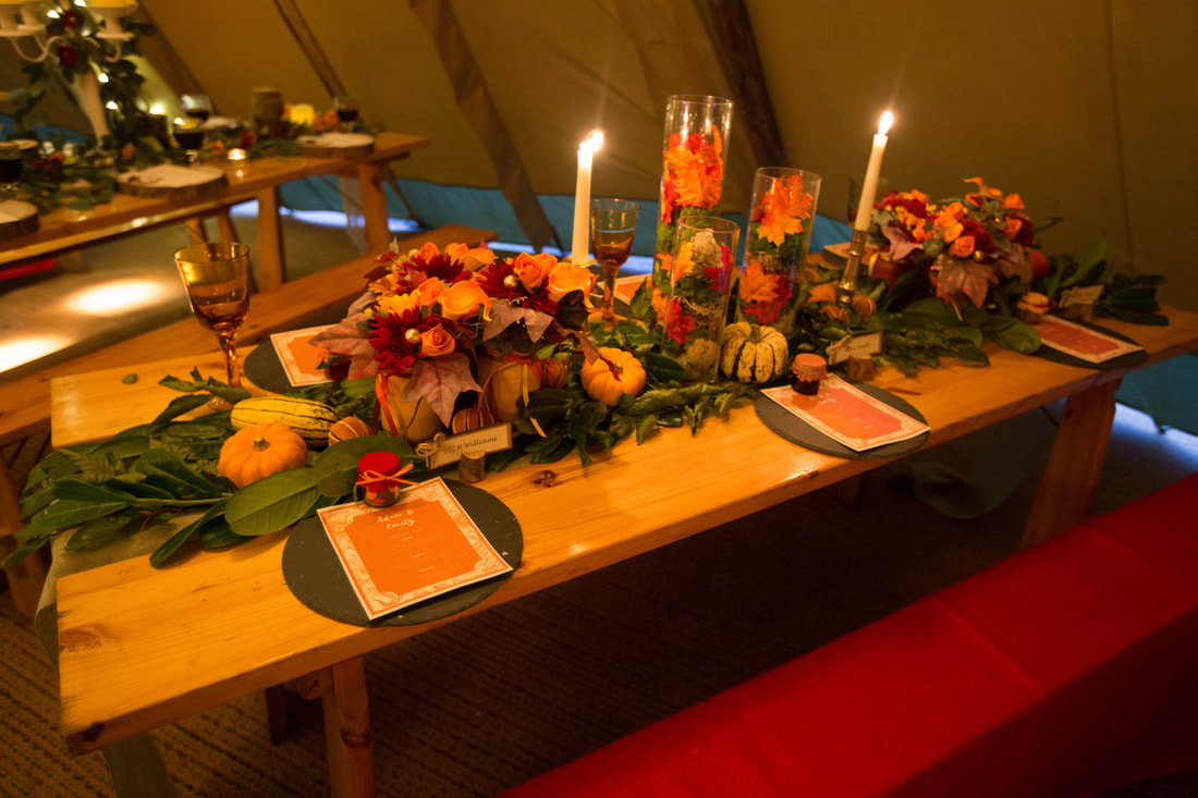 Autumnal wedding table scape