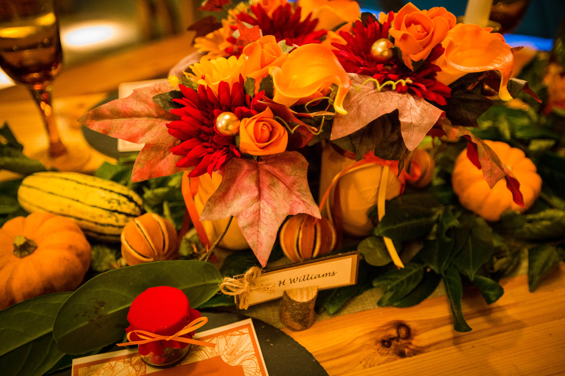 Autumnal wedding table centre piece
